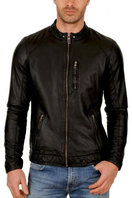 Men Leather Jacket Handmade Black Motorcycle Solid Lambskin Leather -43