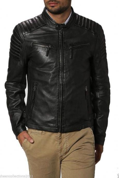 Men Leather Jacket Handmade Black Motorcycle Solid Lambskin Leather - 101